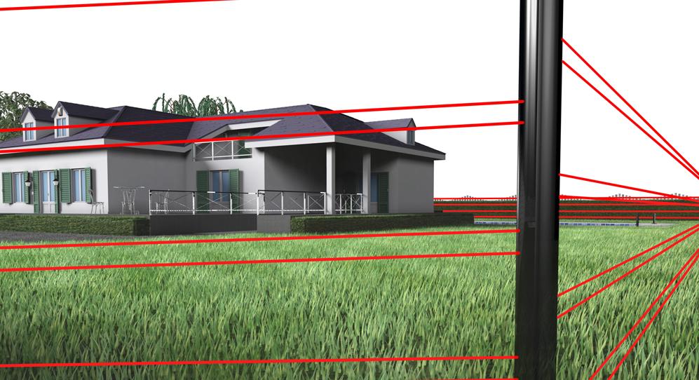 Protezione perimetrale esterna del giardino (a livello mura di cinta o cancellata) con rilevatori ad infrarossi attivi beam tower o barriera a microonde explorer bus.